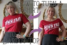 How to Turn a T-Shirt into a Bardot Top. I'd recommend finishing the neckline with some stretch bias tape, such as fancy satin tape: http://www.thesewingdirectory.co.uk/stretch-bias-binding-review/