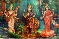 Mata Saraswati , Mata Parvati and Mata Lakshmi Shiva Parvati Images, Lakshmi Images, Shiva Shakti, Ganesha Art, Krishna Art, Saraswati Goddess, Saraswati Mata, Village Scene Drawing, Saraswati Painting