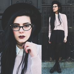 Freyrs Cat Eye Glasses, Style Moi Pink Sweater