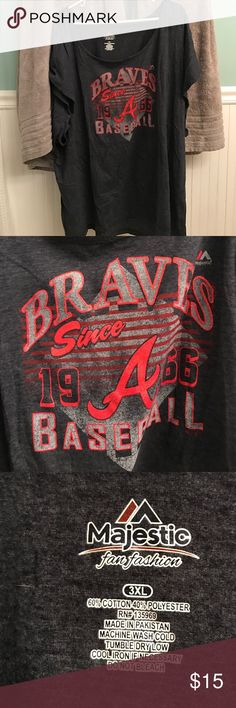 Plus size Atlanta braves shirt I bought for a game and wore once. It's a big 3x. The arms are large. It fits very nice but I won't ever wear again more then likely. Was very expensive. 3x plus size. Pet loving home Tops Tees - Short Sleeve