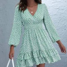 Dress P, Wrap Dress, Green Long Sleeve Dress, Summer Sale, Clothes For Women, Womens Fashion, Casual, Shopping, Lifestyle