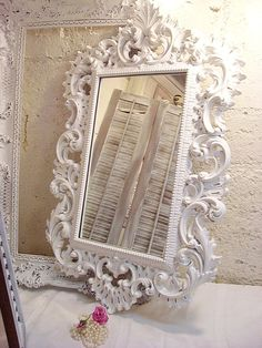 Large Shabby Mirror Vintage 1963 Ornate Mirror Shabby Chic 35x22 YOU PICK COLOR Wedding Mantel Large