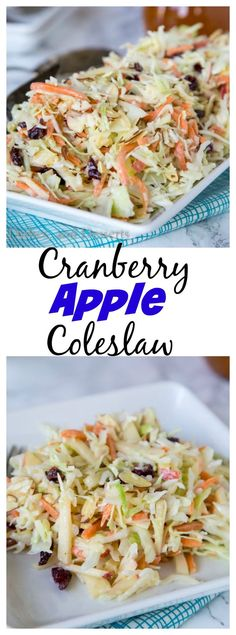 Cranberry Apple Coleslaw – an easy coleslaw recipe that you can make ahead of time, and bring to any summer get together.  Or serve at home with just about anything!: