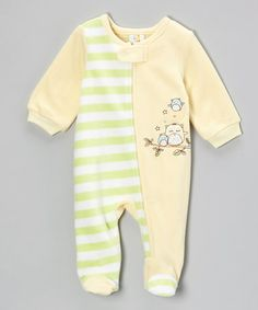 Take a look at this Yellow Stripe Owls Footie by Absorba on #zulily today!