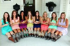 The idea of this is so cute!! I love the colors of all their dresses and the cowboy boots on top of the big, southern porch!