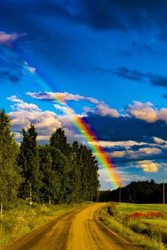 Rainbow at countryside by Mikael Fors - Photo 230869879 / Rainbow Magic, Rainbow Sky, Love Rainbow, Over The Rainbow, Beautiful Sky, Beautiful Landscapes, Beautiful World, All Nature, Amazing Nature