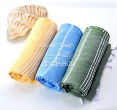 Turkish Bath Hammam Towel Set of 3 Cotton by DowntownIstanbul, $44.99