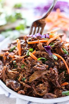 Slow Cooker Asian Shredded Pork - Easy healthy and yummy! This shredded pork recipe is inspired by Asian flavors cooked in a crockpot and perfect on rice noodles and tacos. Minimal active time - perfect for busy weeknights! Healthy Crockpot Recipes, Meat Recipes, Slow Cooker Recipes, Cooking Recipes, Easy Pork Recipes, Crockpot Pork Recipes, Rabbit Recipes, Healthy Asian Recipes, Asian Dinner Recipes