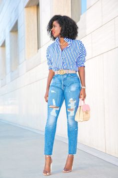 Oversized Striped Button Up + High Waist Distressed Jeans Fashion Shoot, Cute Fashion, Women's Fashion, Fashion Outfits, Style Pantry, African Models, Night Outfits, Smart Casual, Cute Tops