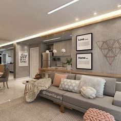 Customizable grey and wood with accent pink Design Apartment, Apartment Interior, Home Living Room, Interior Design Living Room, Living Room Designs, Living Room Decor, Bedroom Decor, Cute Home Decor, Home Office Decor