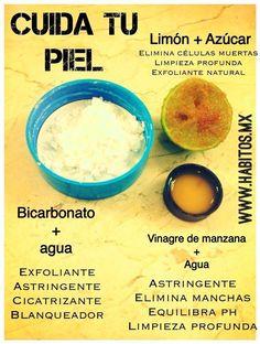 Cuida tu piel con llbicarbonato, limón y vinagre de manzana. #mascarillas #infografía #infographic