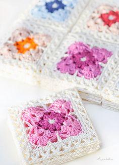 Square Motif 1 pattern by Anabelia Handmade – E. Square Motif 1 pattern by Anabelia Handmade Ravelry: Crochet Square Motif pattern by Anabelia Handmade Mandala Au Crochet, Crochet Flower Squares, Crochet Motifs, Crochet Quilt, Crochet Blocks, Granny Square Crochet Pattern, Crochet Stitches Patterns, Crochet Dolls, Knitting Patterns