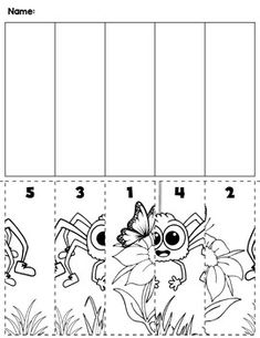 $1 | Spring flowers & bugs preschool cut and order for numbers 1-5. Package includes five no prep worksheets. #preschool #preschoolers #preschoolactivities #kindergarten #Homeschooling #mathcenters #spring
