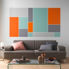 This year Castorama innovates and offers a new color range and very trendy for any room of the house. Simple and effective . Simple Wall Paintings, Creative Wall Painting, Creative Wall Decor, Room Wall Painting, Wall Decor Design, Geometric Wall Paint, Bedroom Wall Designs, Simple Living Room, Living Room Paint