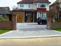 An attractive granite look driveway with a lower carbon footprint than granite. Block Paving Driveway, Permeable Driveway, Stone Driveway, Driveway Landscaping, Modern Landscaping, Driveways, Landscaping Software, Walkway, Landscaping Ideas