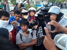 agresiòn de policìa federal a estudiante de Ayotzinapa