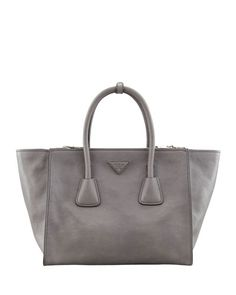 V1QMM Prada Glace Calf Large Twin Pocket Tote Bag, Gray (Marmo)