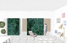 studiowok    Progetto di un interno milanese.   Quinte materiche e continuità dello spazio