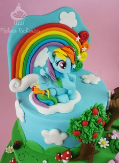 beautiful my little pony cake photo-Amazing My Little Pony Cake Pattern Rainbow Dash Party, Cake Rainbow, My Little Pony Party, Super Torte, 4th Birthday Cakes, Little Poney, Winnie, Themed Cakes, Minnie Mouse