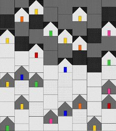 Layout for house block quilt