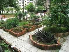 A community garden can be attractive as well as functional. The pavers and brick give this a welcomed presence to any location. Brick Projects, Garden Projects, Garden Tools, Garden Ideas, Backyard Ideas, Raised Garden Beds, Raised Beds, Brick Garden, Tropical Garden