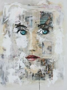 Mixed media, newspaper on canvas with a painted face overlayed titled ...