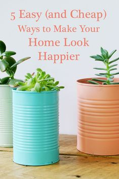 5 Easy (and Cheap) Ways to Make Your Home Look Happier Wonderful DIY decor ideas in this article. Home Projects, Home Crafts, Projects To Try, Diy Crafts, Easy Home Decor, Cheap Home Decor, Decorating A New Home, Web Design, Diy Inspiration