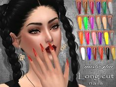 The Sims Resource: Long cut nails by Sintiklia Sims 4 Mods Clothes, Sims 4 Clothing, Sims Mods, Sims 4 Nails, Cc Nails, Sims 4 Cc Skin, Sims Cc, The Sims 4 Shoes, The Sims 4 Cabelos