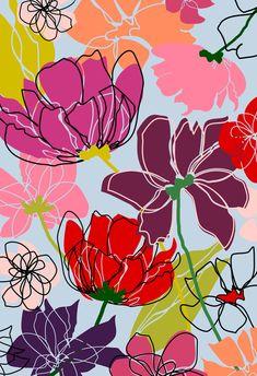 by Pamela Gatens Flower Wallpaper, Pattern Wallpaper, Wallpaper Backgrounds, Iphone Wallpaper, Motif Floral, Arte Floral, Floral Prints, Fond Design, Illustration Blume