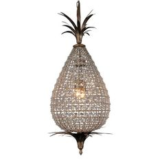Crystal Pineapple Chandelier -Pineapples are a classical motif that seem timeless. Replicating the sparkling lanterns of Morocco, our arresting pineapple-shaped chandelier is strung with multi-faceted crystals and bronze leaves. Chandelier Lamp, Ceiling Pendant, Pendant Lighting, Home Ceiling, Ceiling Lights, Ceiling Lamp, Pineapple Chandelier, French Country Collections, Interiors Online