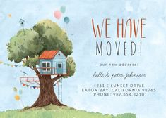 Tree House - Moving Announcement #announcements #printable #diy #template #Moving #newaddress #newhome Birthday Card Template, Birthday Invitations Kids, Birthday Invitation Templates, Happy Birthday Cards, Birthday Tree, Diy Birthday, Housewarming Invitation Templates, Magic Treehouse, Moving Announcements