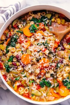 Homemade minestrone soup is easy to make and loaded with hearty vegetables, beans, spices and pasta, perfect for a family dinner and is a one pot meal.
