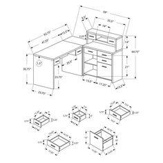 Jordi Modern L-Desk Set - Dimensions Diagram