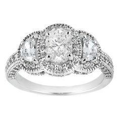 Vintage Oval Diamond Half Moon Halo Engagement Ring