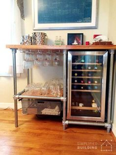 DIY Beverage Cart Built with Pipe (Steps to Build Your Own) . DIY Beverage Cart Built with Pipe (Steps to Build Your Own) - Beverage Refrigerator - Ideas of B Diy Bar Cart, Bar Cart Styling, Gold Bar Cart, Bar Cart Decor, Bar Carts, Ikea Bar Cart, Diy Home Bar, Bars For Home, Diy Home Decor