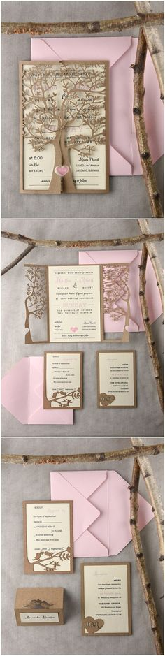 Rustic country leaser cut tree gold and blush pink wedding invitations @4LOVEPolkaDots