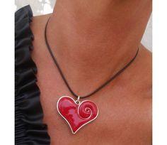 Hjerte smykke av Polymer leire - Innrammet i sølv wire