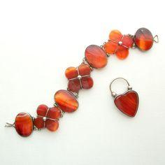Antique Victorian Jewelry Bracelet. Scottish Agate. Heart Padlock. Sterling. Carnelian.