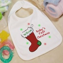 White bib and colored sharpies...i could do this myself! My 1st Christmas Personalized Baby Bib