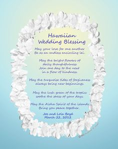 This Is My Original Hawaiian Wedding Blessing Featuring The Lei With Thoughts Based On