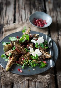 - Roasted Egyptian Dukkah Spiced Aubergines with Goats Feta, Mint and Pomegranate Seeds - If you're looking for a delicious vegetarian dish, we can definitely vouch for this! South African Recipes, Asian Recipes, Balsamic Reduction, Beef Bourguignon, Fresh Coriander, Pomegranate Seeds, Feta, Roast, Spices