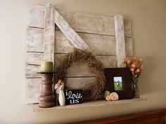 DIY old barn door shelf