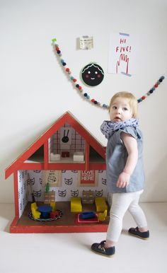 Wallpapering our Vintage Dollhouse