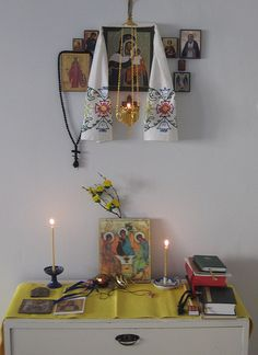 Orthodox Icon Corners... You know you are in a home of an Orthodox for sure.