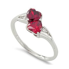 Sterling Silver Simulated Ruby Double Heart Ring (Size 5 - 9): Clothing