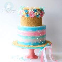 Sugar Sand and Wafer Waves... A Beach Cake - McGreevy Cakes, incl. Tutorial