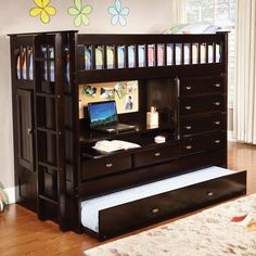 Donco All in One Loft Bed - Dark Espresso | from hayneedle.com