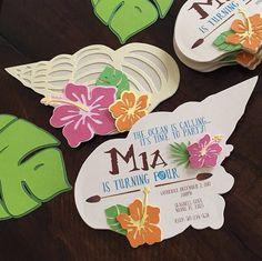 Seashell Invitation, Handmade Luau Invitation, Moana Inspired Invitation #catchmyparty #moana #invitation