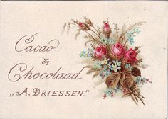 chromo cacao driessen - fower spray of mus roses and forget-me-nots Candy Labels, Vintage Cards, Cocoa, Display, Decoupage, Advertising, Chocolate, Tags, Paper