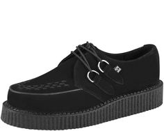 """T.U.K Shoes Black Suede Low Sole Creeper The Original T.U.K. Creepers with Classic Low Man Made Composition Sole. Black Suede, with Black Woven Interlace, and Silver Metal D-Rings.  The """"Low-Round"""" Creeper has a 1 1/2 inch Sole."""